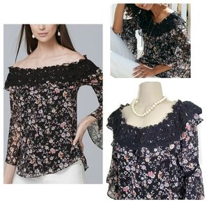 WHBM Off the Shoulder Floral Blouse Size Medium